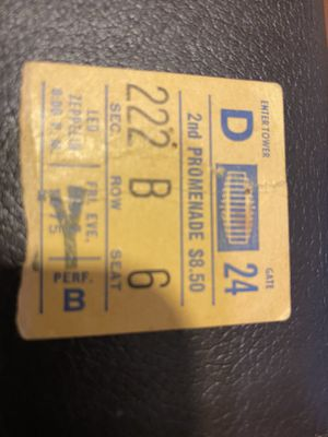 Led Zeppelin 1975 ticket stub for Sale in Tacoma, WA