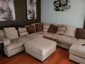 Very large couch and matching 3 piece coffee table set (marble and rod iron) for Sale in Winter Garden, FL