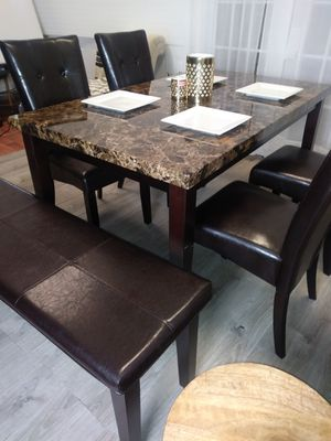 New Marble Top Dining Table Kitchen Tables 4 Chairs & Bench for Sale in Baltimore, MD