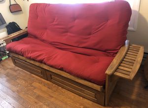 Wooden futon sofa bed with Storage drawers. for Sale in Weehawken, NJ