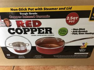 Brand New Red Copper 2.5 quart pot with steamer and cover . Box never opened. for Sale in San Diego, CA