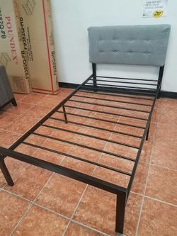 (CLOSEOUT) TWIN SIZE BEDFRAME WITH CUSHIONED HEADBOARD COVER for Sale in Irving,  TX