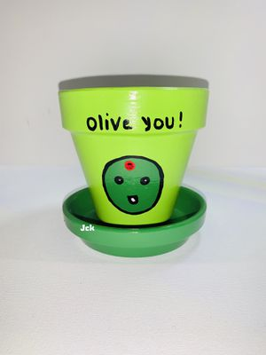 Olive you hand painted flower pot for Sale in Los Angeles, CA