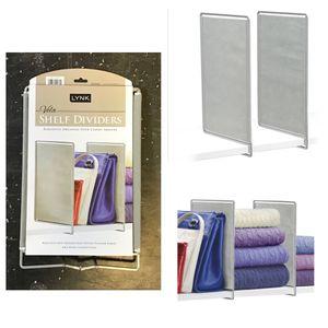 Lynk® Vela™ Shelf Dividers - Closet Shelf Organizer (Set of 2) - Platinum for Sale in Sugar Land, TX