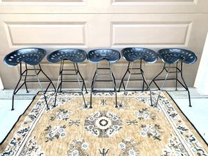 Set of 5 metal tractor seat stools for Sale in Bountiful, UT
