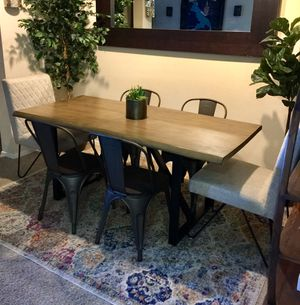 Live Edge Grey dining table set Industrial look with 6 chairs brand new for Sale in San Diego, CA