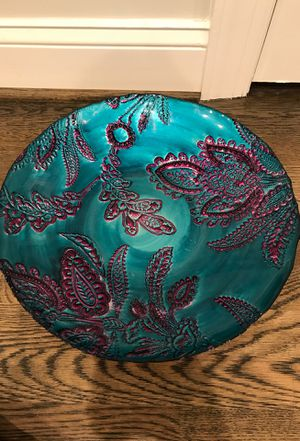 Blue and purple decor (leaf plate and big bowl) for Sale in Washington, DC