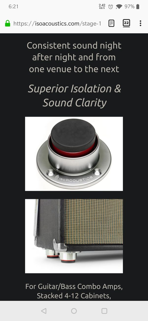 Isoacoustics pro audio stage 1 isolator. Footers for equipment rack subwoofer
