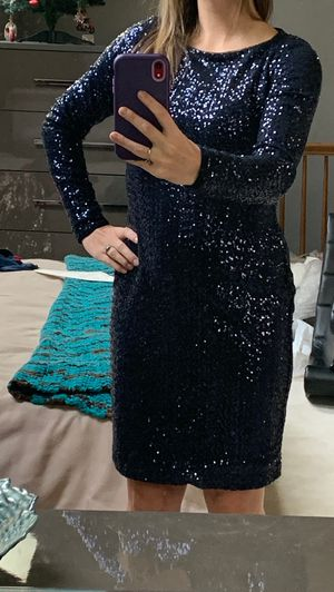 Navy Blue Ralph Lauren Sequin Long Sleeve Open Back Dress- size 2 for Sale in Falls Church, VA