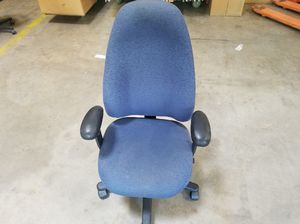 High back, blue office chair with black armrests for Sale in Glen Burnie, MD