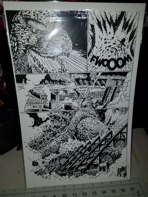Rare comic page art work of Godzilla destroying down town SD for Sale in Santee, CA
