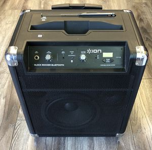 ION Audio Block Rocker (iPA76A) | Portable Bluetooth Speaker with (NO Mic) Radio, and Wheels & Handle for Transport for Sale in San Fernando, CA