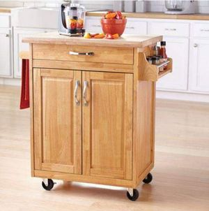 Rolling Kitchen Island Cart Wood Portable Storage Cabinet Drawer Spice Rack for Sale in Santa Fe, NM