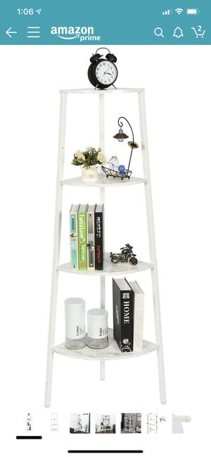 HOME BI 4-Tier Industrial Corner Ladder Shelf, Bookcase, Storage Rack, Plant Stand Accent Metal Frame Furniture Home Office, White for Sale in Santa Ana, CA