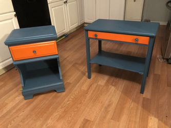 Beautiful Painted End Table Side Table Combo for Sale in Madison Heights,  MI