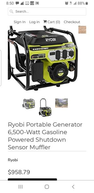 Generator- 6500 watts Ryobi for Sale in Takoma Park, MD