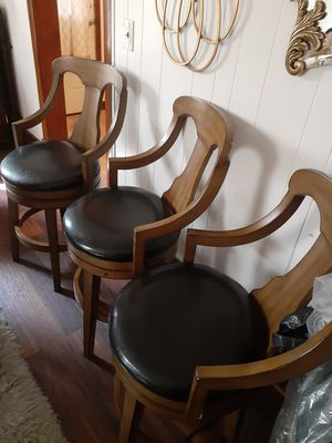 5 counter chair black leather cushions for Sale in Erie, PA