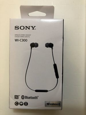 Sony Bluetooth Wireless Clear Sound With Hands Free Calling In Ear Behind Neck Headphone Black ( WIC300 ) for Sale in Garland, TX