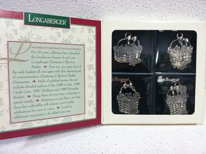 Longaberger Set of 4 Pewter Ornaments Cookie Candy Cane Mistletoe Poinsettia Baskets for Sale in Richardson, TX
