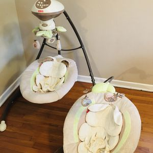 Baby Swing and Vibrating bouncer Everything Works for Sale in Tavares, FL