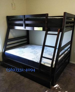 💥On sale new Expresso all wood bunkbed with drawers and mattresses included💥 for Sale in Manteca, CA