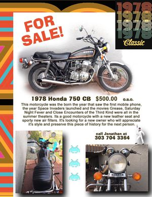 Motorcycle 1978 Honda 750CB w/new seat. for Sale in Longmont, CO
