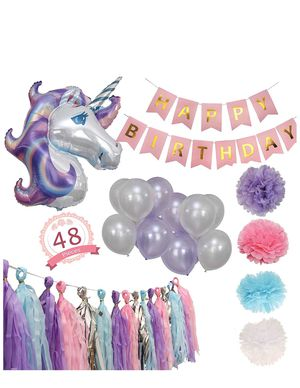 Unicorn Party Supply with a Banner 48pcs for Sale in Center Point, AL