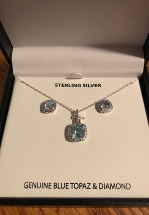 Blue Topaz and Diamond earring and necklace set for Sale in Cambridge, MA