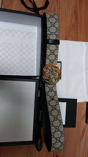 Gucci blue beige monogram vintage belt for Sale in Paterson, NJ