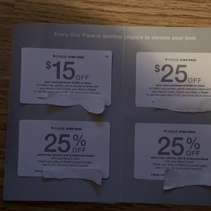 Macy's Star Pass Offer/ Coupons -$15 off $50, $25 Off $100, (2)25% off Exp 1/21 for Sale in Mableton, GA