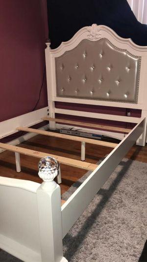 Full sized white bedroom set, bed frame and dresser/mirror for Sale in Garden City, MI
