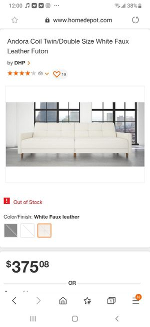 White Faux leather Andora Coil Futon for Sale in Rahway, NJ