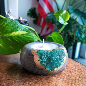 Crystal Concrete Wax Candle - Geode Small Plant Pot - Air Plant Holder for Sale in Miami, FL