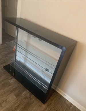 Rectangular 2-Shelf Bar Unit with Wine Holder Glossy for Sale in Westmont, IL