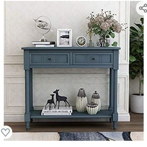 Daisy Series Console Table Traditional Design with Two Drawers and Bottom Shelf Acacia Mangium (Navy) for Sale in Hacienda Heights, CA