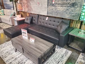 Leather Sectional Sofa Bed, Black for Sale in Huntington Beach, CA