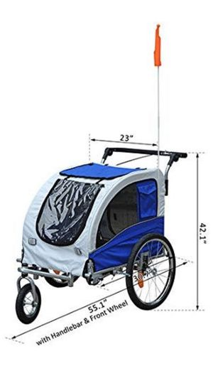 Aosom Elite II 2-in-1 Pet Dog Bike Trailer and Stroller with Suspension and Storage Pockets for Sale in San Diego, CA