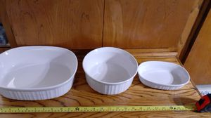 3 oven safe and microwave safe CorningWare serving dishes for Sale in Phoenix, AZ