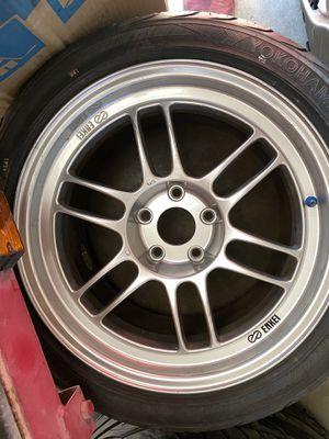 Enkei rpf1 set of 2 rims! 17x 9 1/2 + 18 like new tires Yokohama 255/40R17 for Sale in Riverside, CA