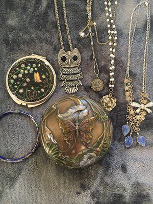 Butterfly jewelry box & Necklaces, Mirror, Bracelet, trinkets for Sale in Denver, CO