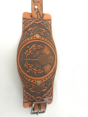 Celtic Wide leather cuff Scottish Thistle for Sale in Rock Hill, SC