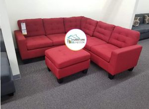 New carmine red linen fabric sofa sectional with ottoman for Sale in Pomona, CA