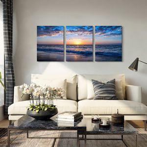 Canvas Wall Art Sunset Nature 3 Panel Decoration Home Bedroom Living Room Office Ready To Hang for Sale in Des Moines, WA