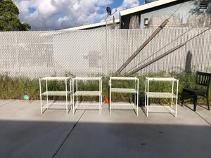 4 white metal shelves for storage plants books shoes shelf for Sale in Anaheim, CA