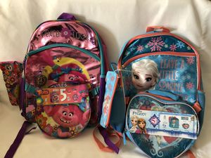 New BACKPACKS FROZEN & TROLLS 2 pieces $20 for Sale in Hacienda Heights, CA