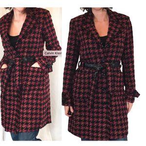 CALVIN KLEIN wool red black Tweed Plaid coat jacket for Sale in Tampa, FL