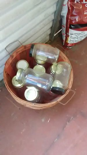 2 baskets with canning jars for Sale in Thomasville, NC