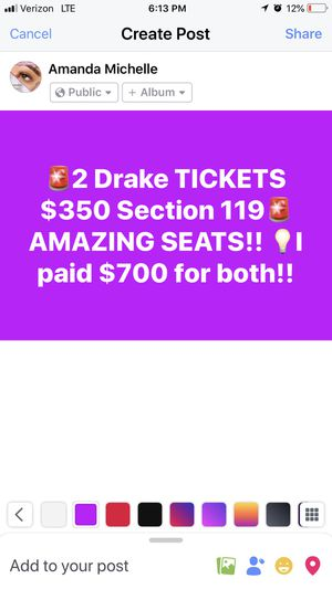 2 Drake Tickets for Sale in Tempe, AZ