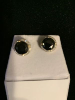 Diamond and Onyx in Gold Earrings for Sale in Lanham, MD