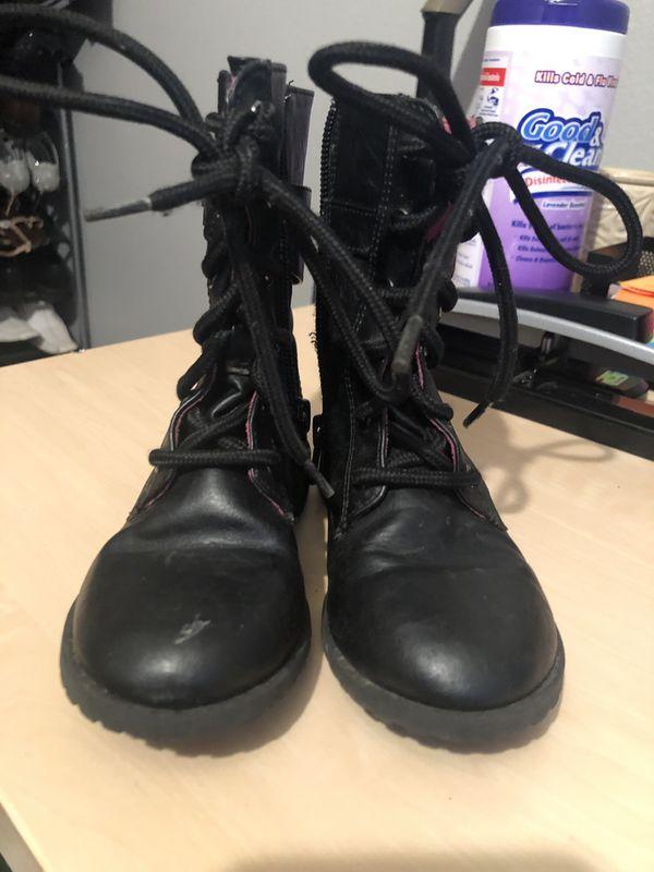 Little girls black boots size 9